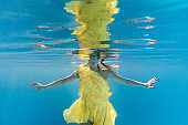partial view of woman in dress swimming underwater