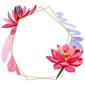 Red lotus flower. Watercolor background illustration set. Frame border golden crystal. Geometric polygon mosaic shape.