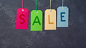 Sale concept with colorful price tags