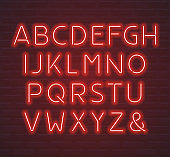 Red neon font, letters and ampersand symbol