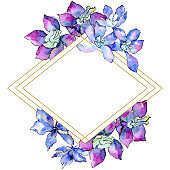 Purple orchid flower. Watercolor background illustration set. Frame rhombus. Geometric polyhedron crystal mosaic shape.