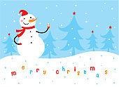 cute snowman merry christmas greeting card vector