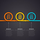 Vector rings with arrows on a dark background. Can be used for presentation, diagrams, annual report, web design. Business infographic concept with 3 options, steps or processes.