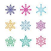 cute snowflake pattern vector set. cute snow flakes pattern vector set