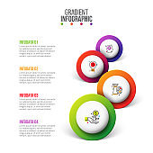 Vector timeline infographics with circles. Presentation template with 4 steps, options, parts or processes. Business data visualization. Process chart. Abstract diagram.