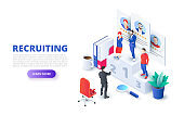 Hiring and recruitment design concept with pedestal and people. Isometric vector illustration. Landing page template for web
