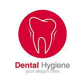 Vector dentist logo design template. Tooth symbol for Dental clinic or mark for dental hygiene. Circular red white design.