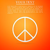 Peace sign icon isolated on orange background. Hippie symbol of peace. Flat design. Vector Illustration