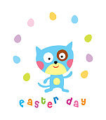 cute kitten cat easter day greeting