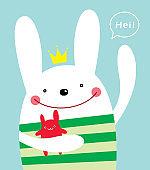 cute bunny rabbit greeting poster wallpaper