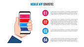 Vector human hand holds a mobile phone. Can be used for workflow layout, diagram, number options, step up options, web design, banner template, infographic.