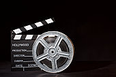 movie film reel and clapboard