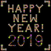 Happy New Year 2019 colorful sparkling fireworks square black sky XXXL