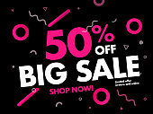 Big Sale Banner 50% OFF Sale. Special offer promotion campaign ad layout. Price Drop up to 50% Off Discount Banner Trendy Design Template. Modern Colors and Background Vector Illustration EPS10.