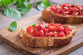 Bruschetta with chopped tomato and basil on toast