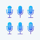 Podcast radio icon illustration set.