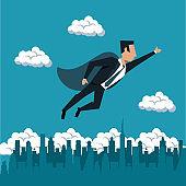Businessman flying with superhero cap
