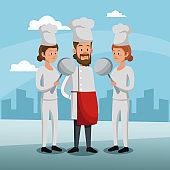 Chefs teamwork at city