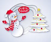 Vector cut paper illustration of Snowman