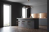 Black and bronze kitchen corner