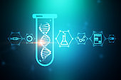 Blue dna in test tube, science icons, green