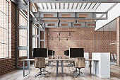 Loft open space office, brick