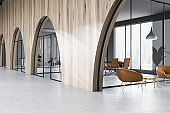 Arched meeting room in office lobby