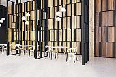 Restaurant interior, wooden walls