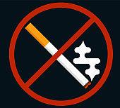 No Smoking Sign Flat Style