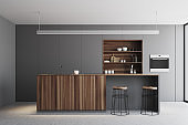 Gray kitchen, wooden bar stand