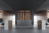 Wood and black office, gray reception