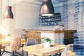 White and brick bar corner toned