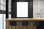 Loft bar corner, black walls, poster
