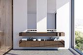 Dark wooden double sink vanity unit