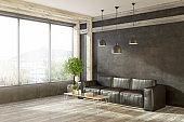 Leather sofa in black living room corner