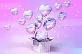 Many purple balloons in box, purple