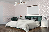 White pattern bedroom with a poster