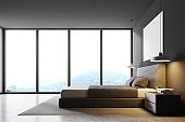Gray panoramic bedroom, side view