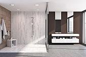 Dark wooden bathroom, shower stall, sink