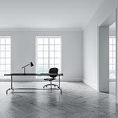 White home office interior