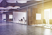 Wooden ceiling office lobby, poster toned