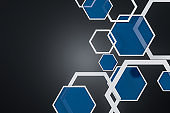 White and blue hexagons background over black