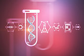 Blue dna in test tube, science icons, purple