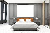 Stylish master bedroom interior, gray