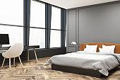 Stylish master bedroom corner, gray