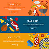Barbecue grill horizontal website templates