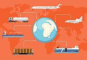 Global logistics network concept in flat design