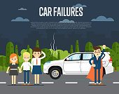 Car failures concept with people
