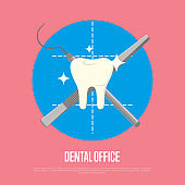 Dental office banner with syringe and scalpel