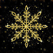 Golden shiny snowflake on black background. Glittering xmas snowflake holiday card. Vector illustration.